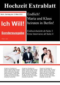 verfgbar als powerpointvorlage - Hochzeitszeitung Beispiele